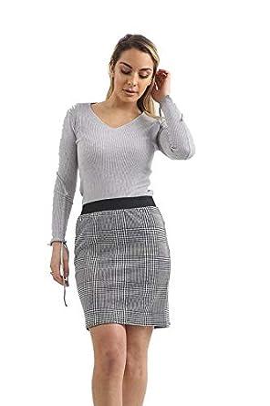 Top Fashion18 - Falda - para Mujer Blanco Mono Check Mini Skirt ...