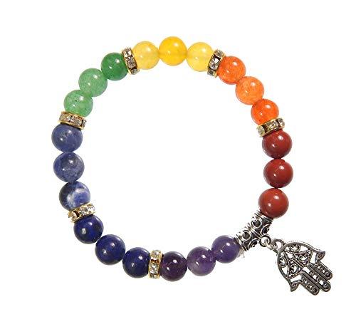 Myhealingworld Hamsa Charm Bracelet Handmade Healing Energy 8mm Round Bead 7 Chakra Gemstones Stretchable Bracelet