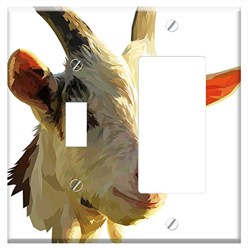 - 1-Toggle 1-Rocker/GFCI Combination Wall Plate Cover - Goat Low Poly Animal Farm Head