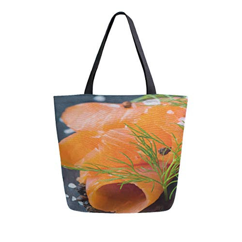 (Fresh And Juicy Salmon Portable Large Double Sided Casual Canvas Tote Bags Handbag Shoulder Reusable Shopping Bags Duffel Purse For Women Men Grocery Travel)
