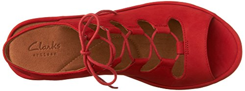 outlet cheap online largest supplier for sale CLARKS Clarene Grace Womens Wedge Sandals Red Nubuck original for sale ypmRaX