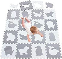 Meiqicool Baby Crawling Mat Puzzle Play Foam Tiles Non Toxic Playmat Floor Mats for Tummy Time