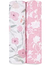 aden + anais Swaddle Blanket, Boutique Muslin Blankets for Girls & Boys, Baby Receiving Swaddles, Ideal Newborn & Infant Swaddling Set, Perfect Shower Gifts, 2 Pack
