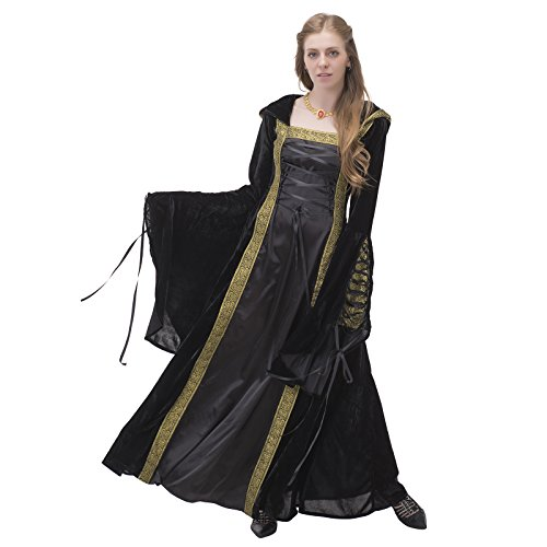 1791's lady Medieval/renaissance Hooded Gown dresses NQ0029-3-XL (Hooded Renaissance Dress)