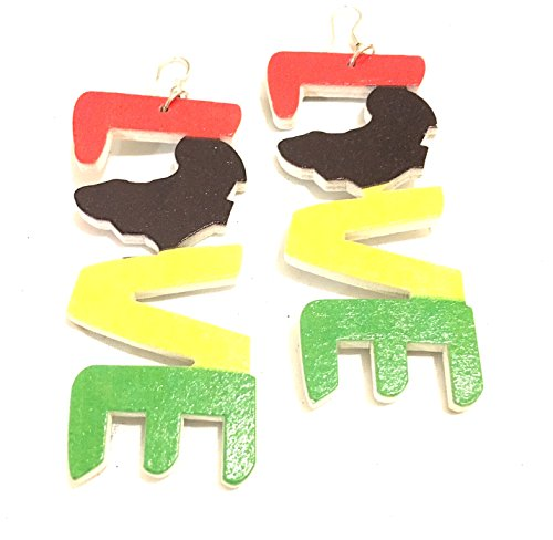 Search : Afro American African style woman's earring afro design