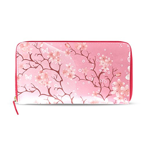 ry Blossom Women's Leather Wallet Clutch, Card Holder Purse HandBag Gift for Her Girl ()