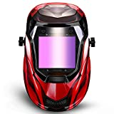 DEKOPRO Durable Solar Powered Welding Helmet Auto Darkening Professional Hood with LED Digital Display Accurate Adjustable Shade Range 4/5-8/9-13 for Mig Tig Arc Weld Grinding Welder Mask Red
