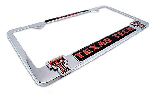 Premium All Metal NCAA TTU Red Raiders Alumni License Plate Frame w/ dual 3D logos (Texas (Raiders 3d License Plate)