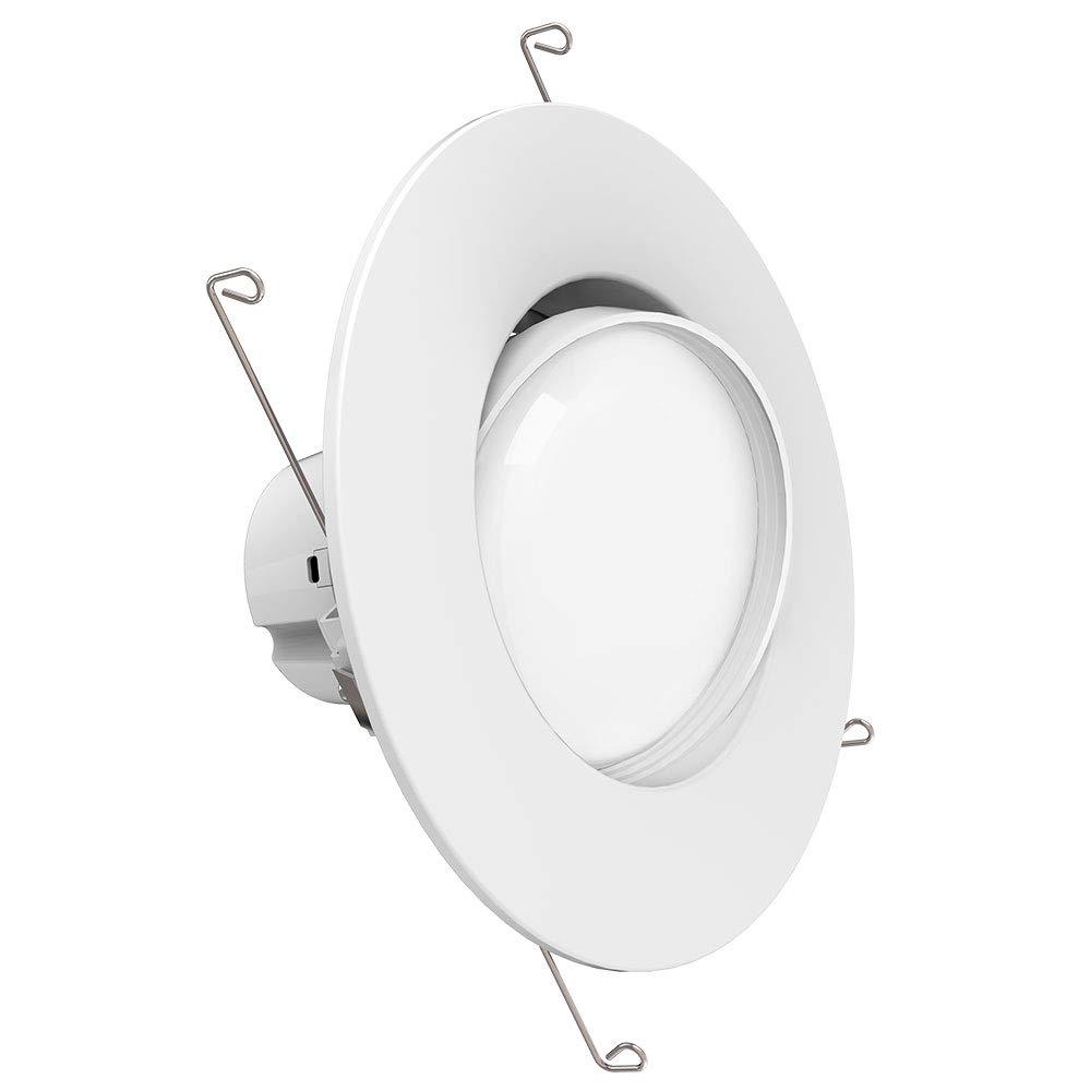 Sunco lighting 12w 6inch directional adjustable gimbal dimmable led retrofit recessed lighting fixture 60w 5000k daylight energy star ul