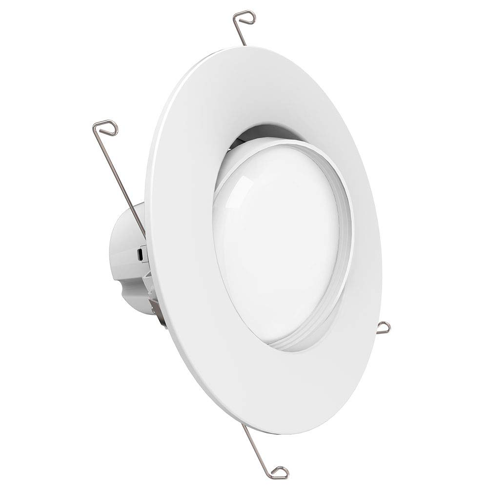 Sunco Lighting 5/6 Inch Directional Gimbal Fixture Recessed Retrofit Kit Downlight Dimmable LED Light, 12W (60W Replacement) 3000K Kelvin Warm White, Quick/Easy Can Install, 800 Lumen, Damp Rated