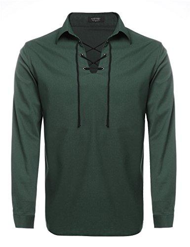 Coofandy Mens Scottish White Jacobite Ghillie Kilt Shirt (XL, Deep Green)