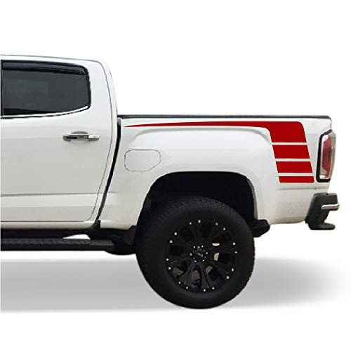 Bubbles Designs Decal Sticker Vinyl Hockey Bed Stripes Compatible with GMC Canyon 2014-2017 (RED) - Medium Canyon Stripe