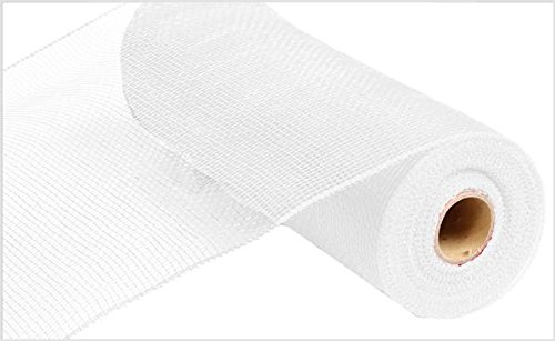 10 Inch x 30 Feet Deco Poly Mesh Ribbon - White Non Metallic : RE130227