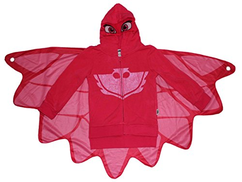 [PJ MASKS Little Girls' Owlette Hoodie W/ Wing Cape (S (6/6x), Glitter Hoodie)] (Pj Masks Disney Costume)