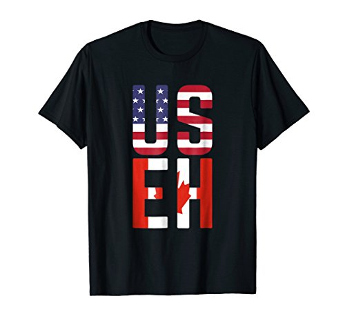 USEH America Canada Flag Funny American Canadian T-Shirt