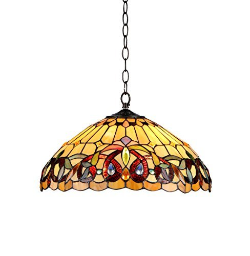 - Chloe Lighting CH33353VR18-DH2 Tiffany-Style Victorian 2 Light Ceiling Pendent Fixture 18-Inch Shade, Multi-Colored
