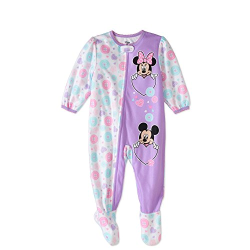 Disney Mickey and Minnie Mouse Fleece Footed Sleeper Pajama Baby Girls 12 - Sleeper Disney Fleece