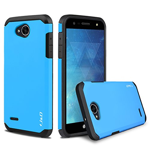 LG X Charge Case, J&D [ArmorBox] [Dual Layer] Hybrid Shock Proof Protective Rugged Case for LG X Charge, LG X Power 2, LG Fiesta 2, LG Fiesta, LG V7 - Blue