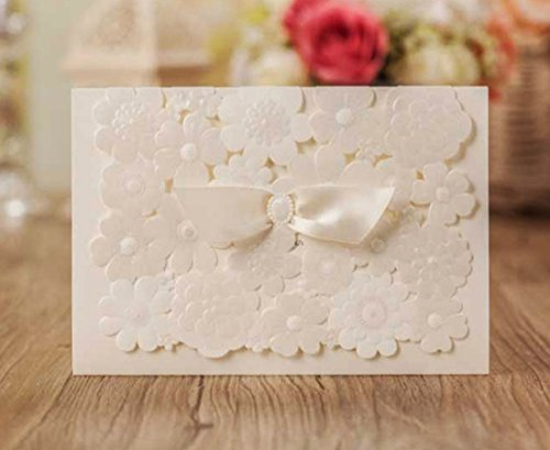 WISHMADE Elegant Wedding Invitations Laser Cut Party Invites Cards with Printable Paper and Envelopes for Engagement Wedding Quinceanera Birthday Bridal Bride Baby Shower Party 20PCs -