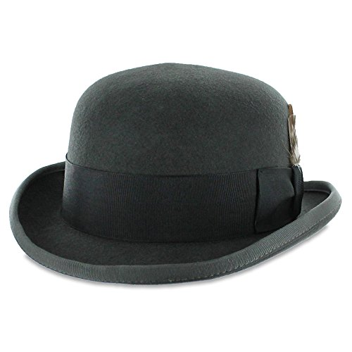 Belfry Tammany - Satin Lined 100% Wool Derby Hat (Small, Grey)