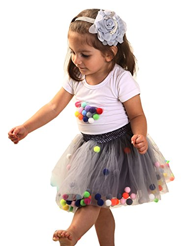 Baby Girls Tutu Skirt and Toddler T-Shirt Sleeve Top Outfit Set (M, Grey)