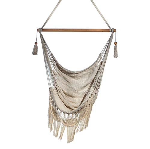 Handmade Hanging Rope Hammock Chair – All Natural Indoor or Outdoor Porch Swing Patio Swing Chair Off-White