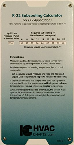 R22 Superheat Subcooling Calculator Charging Chart 2 Reviews