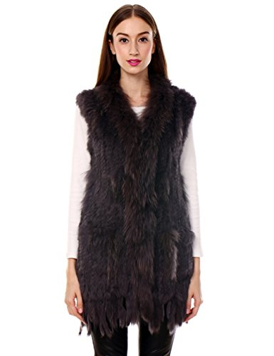 Ferand Long Genuine Knitted Rabbit Fur Sleeveless Vest with Raccoon Trim Lightweight Knitted Design for Women, Brown with Tassels, X-Large ()