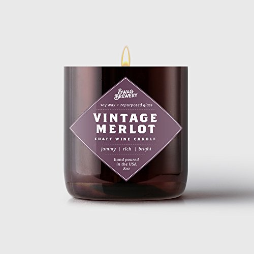Swag Brewery VINTAGE MERLOT Wine Candle - Makes a Great Wine Gift, Gift for Mom, Unique Wine Bottle Candle, Pinot Noir, Bordeaux, Cabernet, Syrah, Malbec, Chardonnay, LushMADE IN (Merlot Wine Scented Candles)