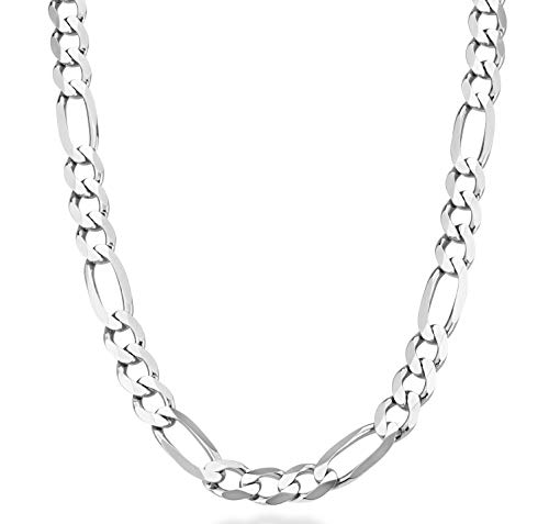 - MiaBella 925 Sterling Silver Italian 11mm Solid Diamond-Cut Figaro Link Chain Necklace for Men, 20