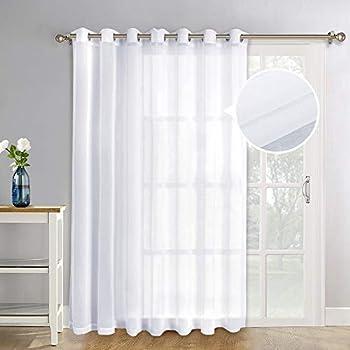 NICETOWN Patio Door Sheer Curtain Panels - Linen Look Texture Semi-Voile Window Drapes for Sliding Glass Door (100 inches X 84 inches, 1 Piece)