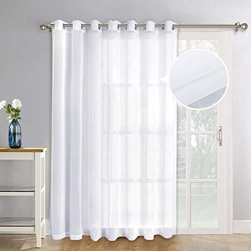 NICETOWN Patio Door Sheer Curtain Panels - Linen Look Texture Semi-Voile Window Drapes for Sliding Glasss Door (100