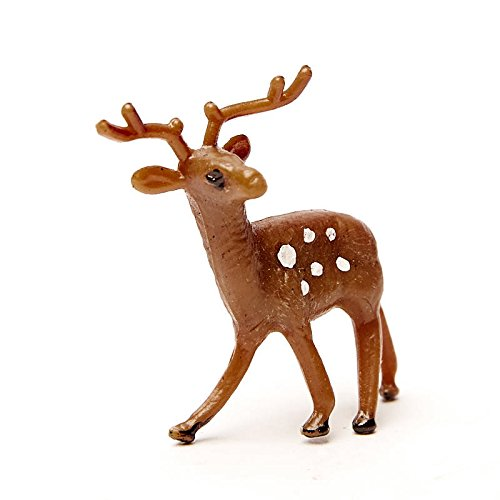 Factory Direct Craft Group of 50 Plastic Miniature Brown Deer - Tiny Reindeer Figurines for Christmas Villages and Holiday Crafts (1-3/4 Inch) (Reindeer Miniature)