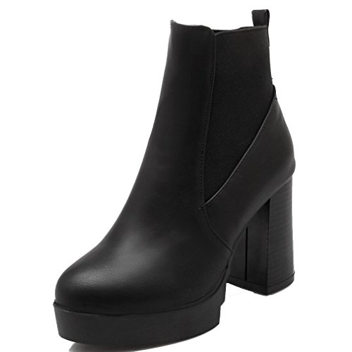 lacencn Women's Closed Round Toe Pu Soft Material Thick Heel Solid Ankle Boots Black4 B(M) - High Mile Vegas Las Shops