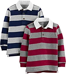 Toddler Boys 2-Pack Long-Sleeve Rugby Striped Shirts