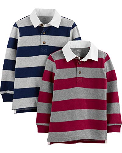Simple Joys by Carter's Boys' Toddler 2-Pack Long-Sleeve Rugby Striped Shirts, Navy Burgundy, 2T