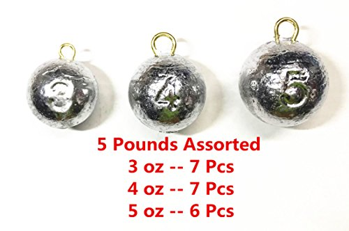 Kathy store INC Cannonball Weights Fishing Sinkers - assorted weights / 5 LB (5 LB - 3oz \ 4oz \ 5oz) + Free Folding Wallet Knife