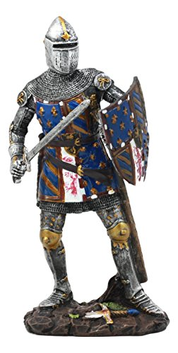 (Ebros Le Fleur Royal French Knight in Battle Stance Statue Suit of Armor Swordsman Warrior with Heraldry Shield Renaissance Age of Kings Decorative Sculpture)