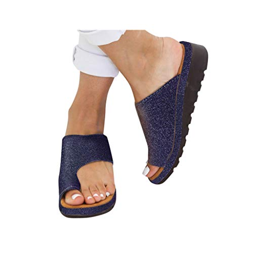 (Dressin 2019 New Women Comfy Platform Sandal Shoes Summer Beach Comfortable Ladies Shoes Travel Shoes Fashion Sandals Slipper Flip Flop Blue )