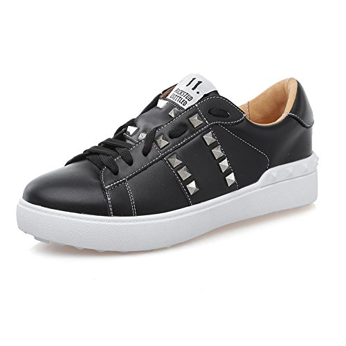Shenn Dames Comfort Vetersluiting Met Klinknagels Casual Lederen Mode Sneakers Zwart