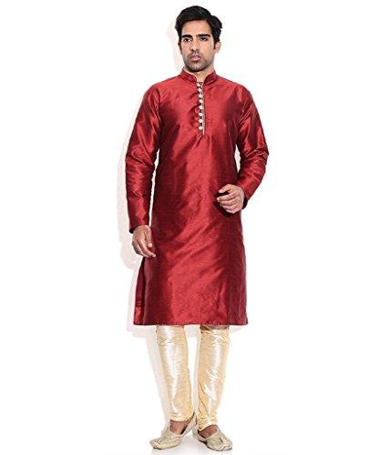 Occassional Sets (Royal Kurta Men's Silk Blend Occassional Wear Loopbutton Kurta Set 44 Maroon)