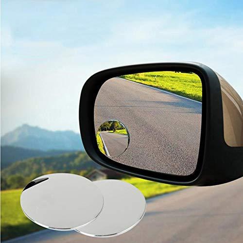 negro Pudincoco Accesorios para autos Espejo redondo peque/ño Espejo retrovisor para autom/óvil Punto ciego Lente gran angular Rotaci/ón de 360 grados ajustable