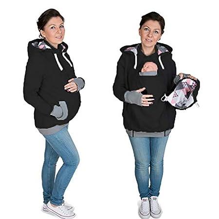 Femmes Hommes de maternit/é Coton Hoodie Double /épais r/éel Porte-b/éb/é Porteur Pull Top Kangourou Outwear Veste /à Capuche Zipper TYUE Veste /à Capuche Kangourou Manteau