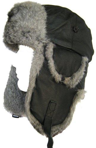 Klondike Sterling Leather Aviator Hat Rabbit Fur Trooper Winter Ski Black (Large)
