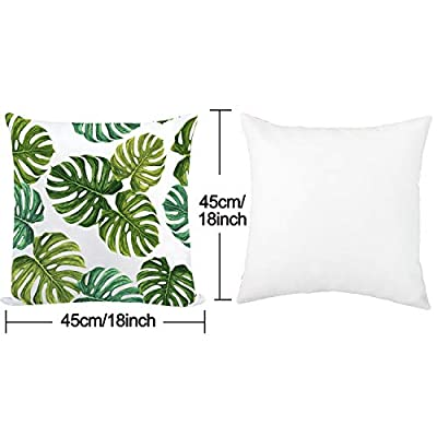 "Whaline 4 Packs Pillow Case Throw Cushion Cover Cotton Polyester Cushion Covers Holiday Home Decoration (18"" x 18"")"