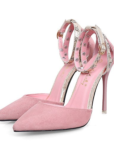 LFNLYX Zapatos de mujer-Tacón Stiletto-Tacones / Puntiagudos / Punta Cerrada-Sandalias-Vestido-Ante-Negro / Rosa / Bermellón Burgundy