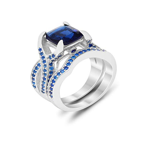 Infinity Bridal Set Wedding Engagement Ring Princess Round Simulated Blue Sapphire 925 Sterling Silver Size ()