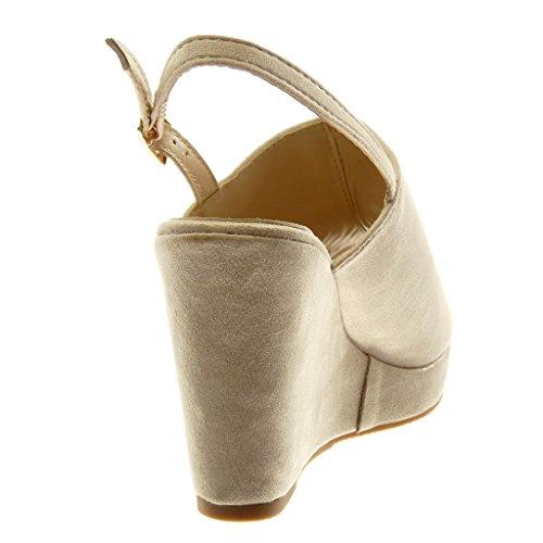 Caviglia Angkorly Mules Zeppe 10 Cinturino Scarpe Tanga Piattaforma Donna Peep Alla beige cm Tacco Toe Zeppa con Moda Sandali rrSBwAxqv