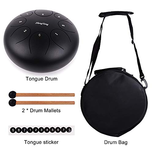 ShengTang Steel Tongue Drum Hang Drum Tank Drum D Major 8 Notes 10 Inches Black Color with Padded Travel Bag and Rubber Mallets. by Shengtang (Image #6)