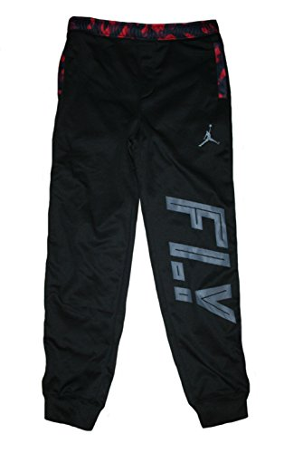 Jordan Big Boys' Therma-FIT Camo Pieced Jogger Pants (S((8-10YRS), Black/Gym Red)